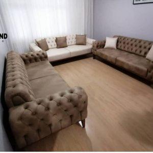 Sofa minimalis model kancing ukuran 3 seater